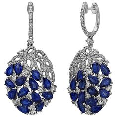 Sapphire Dangle Earrings | From a unique collection of vintage dangle earrings at https://www.1stdibs.com/jewelry/earrings/dangle-earrings/