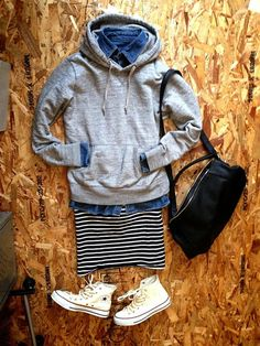 super cute outfit. love the striped skirt and denim shirt.