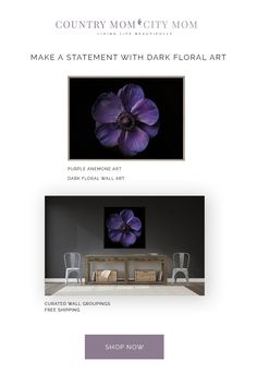 A beautiful, purple anemone print will make a statement in order dark, rustic farmhouse style home. The print will work well in a room with dark walls, especially Benjamin Moore grays and rich browns All prints ship free! Purple Wall Decor, Purple Walls, Dark Walls, Rustic Farmhouse, Farmhouse Style, Wall Groupings, Dark Interiors, Floral Wall Art, Benjamin Moore