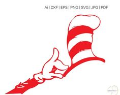 Dr Seuss Hat & Hand SVG, Silhouette and cricut Cut Cutting file, Dr Seuss Hat and Hand, svg files, s Dr Seuss Hat, Dr Seuss Week, Silhouette Design, Silhouette Cameo, Dr Seuss Shirts, Vector Art, Unique Jewelry, Handmade Gifts, Pattern