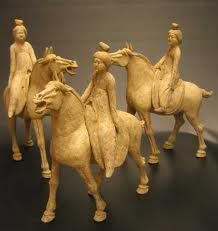 3 Piece Set of Early Tang Painted Pottery Horses with Detachable Lady Riders - DL.2095 Origin: Shaanxi Province, Xi'an Circa: 618 AD to 907 AD   Collection: Chinese Medium: Terracotta Condition: Extra Fine