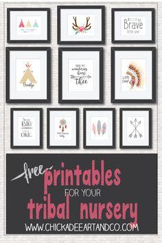 Free Tribal Nursery Art Printables from Chickadee Art and Company   http://www.chickadeeartandco.com/free-printables/