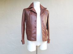 Vintage Mens Small Size 40 Brown Leather Jacket Coat 1970s Style Moto Biker Racer Overcoat Classic 70s High Fashion Spring Festival by Ramenzombie on Etsy