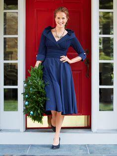 Blue Holiday Dress fashion blue classy holidays cocktail dress party dress winter fashion
