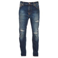 Nudie Jeans Men's Brute Knut Tapered Cropped Jeans - Blue Reed (1,360 EGP) ❤ liked on Polyvore featuring men's fashion, men's clothing, men's jeans, men, men's pants, pantalones hombre, pants, blue, mens cropped jeans and mens jeans