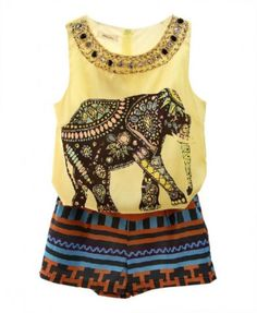 Elephant Print Tank Top and Shorts Suit with Beads Embellishment - Others - Clothing