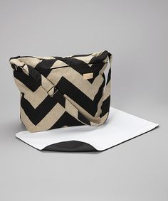 Take a look at this Foxy Vida Black Denton Zigzag Diaper Bag & Changing Pad on zulily today!