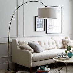 Overarching Floor Lamp - Polished Nickel/White