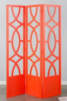 This cutout design would be great on the cabinet doors backed by glass. Candice Screen - Orange by Statements by J