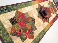 Quilted Fall Table Runner Fall Colors by QuiltSewPieceful on Etsy