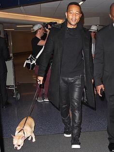 John Legend and his French Bulldog.