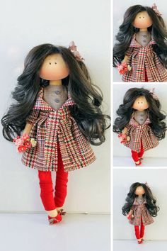 Winter doll Interior doll Handmade doll Soft by AnnKirillartPlace Sewing Clothes, Sewing Dolls, Doll Clothes Patterns, Doll Patterns, Clothing Patterns, Red Dolls, Knitted Dolls, Fabric Dolls, Dioramas