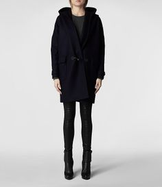 Womens Hooded Klein Duffle Coat (Ink)   ALLSAINTS.com