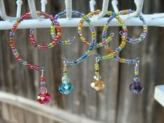 Colorful Wine Glass Charms - multicolor seed beads with crystal bead dangles.  Set of 4  Makes a great gift