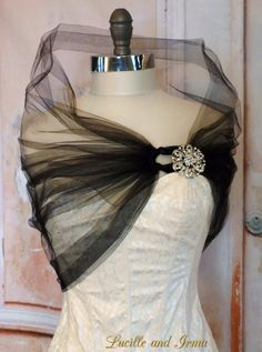Black Tulle Shrug Black Bolero Tulle Stole With Rhinestone Brooch Closure Black Tulle Shoulder Wrap Caplet Prom Shawl More Color Options