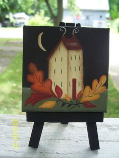 Primitive Fall Autumn Saltbox House Leaves Mini Canvas by Primgal