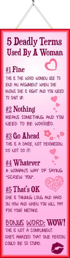 5 Deadly Terms Used By a Woman Funny Quote Sign in Pink http://ibeebz.com