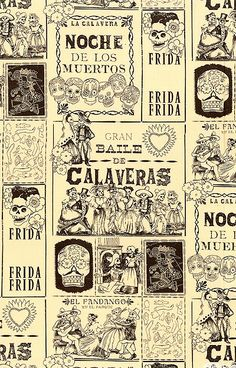 """'Baile de Calaveras' from the 'Folklorico' collection by DeLeon Design Group for Alexander Henry. Larger Frida Kahlo frames are about 8"""". via equilter.com"""