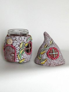 JAR House with LID for Gnome or Fairy with pink flowers and MAGIC DOOR from polymer clay good as Tooth Jar or Small Candy Jar or Jewelry or Cottons and it is perfect as a gift ONE of a KIND international shipping by besedina, via Flickr