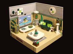 ~ Lego MOCs City ~ Room with a view of Paradise Lego Modular, Lego Design, Lego Furniture, Lego Boards, Lego Craft, Lego Room, Lego Architecture, Lego Friends, Lego Building