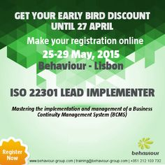 EARLY DISCOUNT for ISO 22301 Lead Implementer course. REGISTER ONLINE. Master the implementation and management of a Business Continuity Management System (BCMS). #iso22301   #businesscontinuity