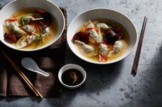 Pork dumplings, Asian broth, wood-ear mushrooms recipe : SBS Food