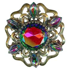 Exquisite Vtg SCHIAPARELLI Watermelon Rainbow Colors Gold Tone Star Brooch Pin