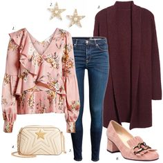 create a spring outfit with a floral blouse you need floral spring blouse ruffle blouse cardigan casual women fashion outfit how to wear skinny jeans how to wear floral top Pink Top Outfit, Floral Top Outfit, Floral Blouse, Floral Tops, Ruffle Blouse, Fall Outfits, Fashion Outfits, Fashion Trends, Fashion Sets