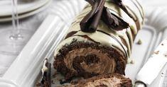 Triple Chocolate Roulade recipe-chocolate recipes-recipe ideas-new recipes-woman and home Tiramisu Dessert, Yummy Treats, Delicious Desserts, Sweet Treats, Baking Recipes, Cake Recipes, Dessert Recipes, Cupcakes, Cupcake Cakes