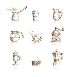Hand drawn coffee icon set vector on VectorStock