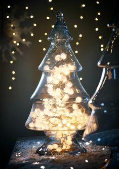Glass christmas tree jar styled with white snowball lights inside Christmas Tree Jar, Cosy Christmas, Christmas Feeling, Christmas Trends, Christmas Inspiration, Vintage Christmas, Christmas Sweets, Christmas Kitchen, Christmas Stuff
