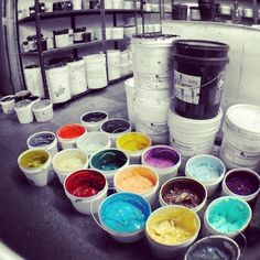 paint buckets from screen printing Studio