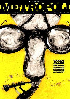 WOODY ALLEN en Acordes y Desacuerdos (Sweet and Lowdown), 1999. Ilustración de Raúl Arias.