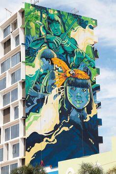 Ice & Rolo - New Street Art collaboration in Ciudad del Este, Paraguay. Murals Street Art, 3d Street Art, Urban Street Art, Best Street Art, Amazing Street Art, Street Art Graffiti, Street Artists, Graffiti Artwork, Graffiti Painting