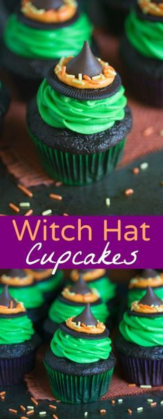 25 Happy Halloween Dessert Recipes: Holiday Treats - Joy Pea Health Witch Hat Cupcakes that take just 5 ingredients to make! You kids will love helping you make these fun and easy Halloween cupcakes! Halloween Cupcakes Easy, Dessert Halloween, Halloween Goodies, Halloween Food For Party, Happy Halloween, Halloween Deserts Easy, Halloween Diy, Halloween Recipe, Halloween Cupcakes Decoration