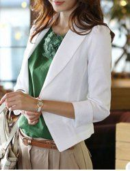 Slimming Lapel Neck 3/4 Sleeve Solid Color One Button Blazer For Women - WHITE L Mobile
