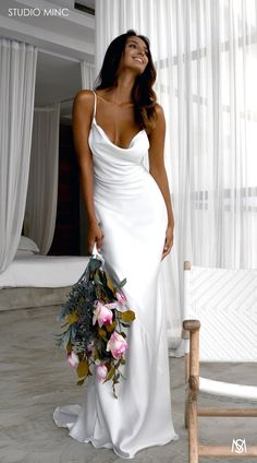 WHITE LUST – By STUDIO MINC - Cowl satin neckline, fishtail dress with low back and train. Simple and effortless Bridal dress Chiffon wedding dresses 2020 Slip Wedding Dress, Dream Wedding Dresses, Bridal Dresses, Wedding Gowns, Party Dresses, Popular Wedding Dresses, Wedding Dresses For Petite, Relaxed Wedding Dress, Silk Bridesmaid Dresses