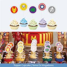 KIT OS VINGADORES CONTÉM:    - 20 tags impressos para potinhos de doce de leite de vidro (Diâmetro:4cm / Quantidade: 04 unidades Capitão América, 04 unidades Homem de Ferro, 04 unidades Hulk, 04 unidades Thor e 04 unidades Símbolo Avengers);    - 20 tags impressos para enfeite topo de cupcake (Di...