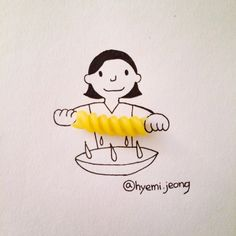 Creative Drawing Adorable Illustrations Made With Everyday Objects by Hyemi Jeong - Korean artist Hyemi Jeong uses everyday objects like jelly beans and band-aids to create adorable illustrations. More illustrations are available on her Creative Illustration, Creative Sketches, Illustration Art, Art Sketches, Object Drawing, Funny Drawings, Creative Artwork, Everyday Objects, Everyday Items