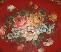 ♥ Folk Art/Tole Painting on tin tray.