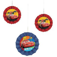 These Disney Cars Grand Prix Fan Decorations feature Lightning McQueen himself with red or blue borders. This package has (1) 8 inch fan and (2) 6 inch fans.