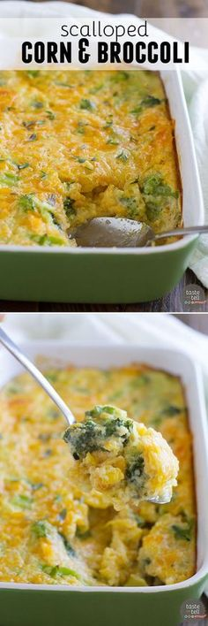A delicious side dish, corn and broccoli are baked with cheese until bubbly and hot. This Scalloped Corn and Broccoli makes a comforting side dish that everyone will beg for. Scalloped Corn and Broccoli - Broccoli Casserole Recipe - Taste and Tell Cooked Vegetable Recipes, Vegetable Korma Recipe, Spiral Vegetable Recipes, Vegetable Casserole, Vegetable Sides, Vegetarian Recipes, Vegetable Samosa, Cooking Recipes, Healthy Recipes