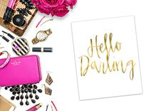 Hello Darling V01  Faux Gold Foil  Modern and by MyStyleRepublic