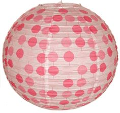 """Perfect for birthday parties or baby showers!  16"""" Pink Polka Dots Paper Lantern"""