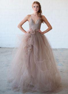 Tara LaTour Fall 2016 purple lace bodice and layered tulle wedding dress | https://www.theknot.com/content/tara-latour-wedding-dresses-bridal-fashion-week-fall-2016