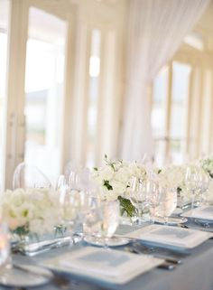 White wedding table decor #navy & white retro wedding board... Wedding ideas for brides, grooms, parents & planners ... https://itunes.apple.com/us/app/the-gold-wedding-planner/id498112599?ls=1=8 … plus how to organise an entire wedding, without overspending ♥ The Gold Wedding Planner iPhone App ♥