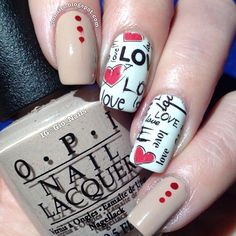 16 Easy Manicure Ideas For Valentine – Simple & Beauty New Home Nail Designs New Year's Nails, Love Nails, Fun Nails, Gorgeous Nails, Pretty Nails, New Years Nail Art, Valentine Nail Art, Manicure E Pedicure, Heart Nails