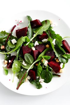 Beetroot Salad. I have an idea baby spinach, rocket, beetroot, feta with balsamic vinegar, olive oil + honey dressing and a splash of ACV