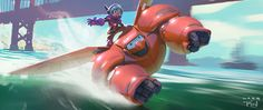 ryanlangdraws:  Another visual development painting from Big Hero 6. Originally this was a painting of a very different Hiro and Baymax by Jeff Turley. Later in production, they asked me to paint the updated Hiro and Baymax, to reflect the final look of the movie. The background is still all Jeff's work, I just painted new characters. Personally, I liked his Samurai Mech Baymax A LOT. Hopefully he'll post it soon, if he hasn't already.
