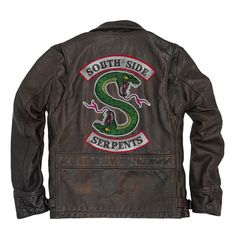 Custom Recycled Vintage Leather Jacket with Embroidery Patch SIZES FROM UNISEX S-3XL